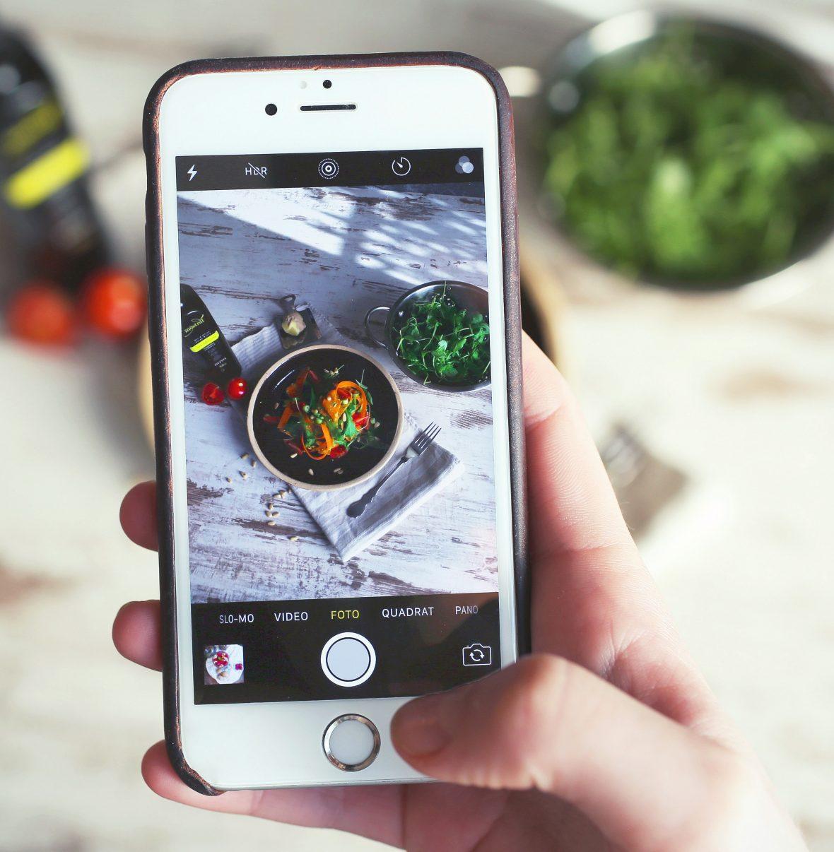 Fotografar comida com iPhone em community management
